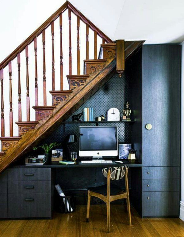Nice Under Stairs Office Space Design Inspirations