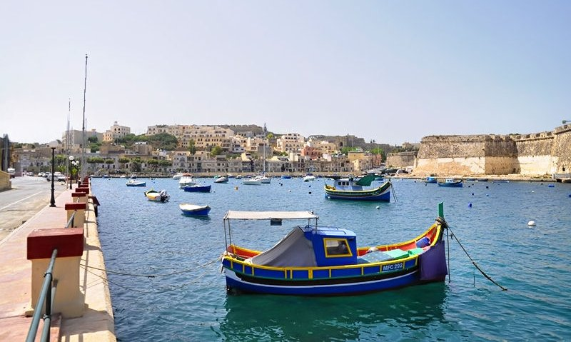 Luzzus in the Kalkara marina