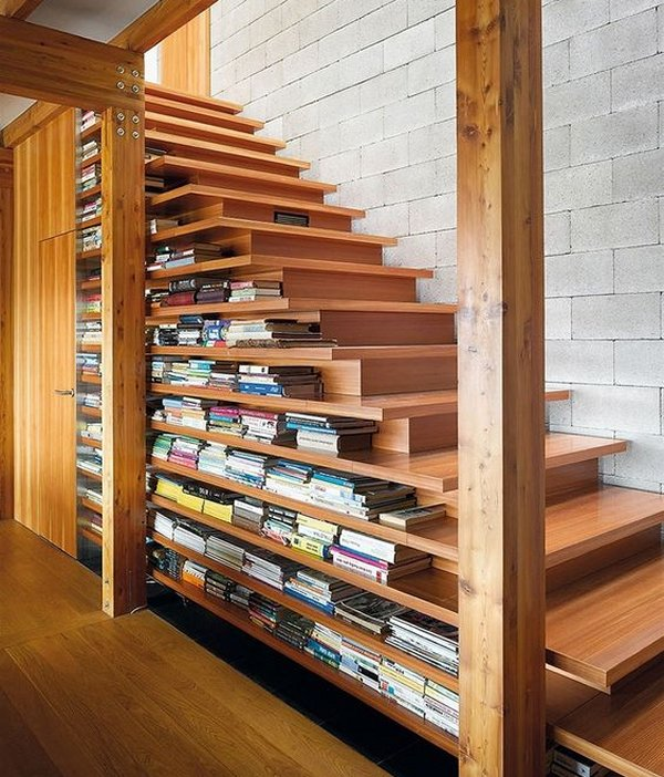 under-stairs-library